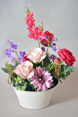 Zijden bloemstuk Rood, Paars, Roze