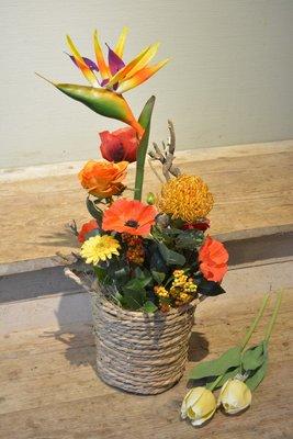 Tropisch bloemstuk in mand