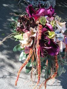 Bruidsboeket waterval Paars/Roze